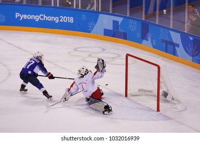 KWANDONG, SOUTH KOREA - FEBRUARY 13, 2018: Olympic champion Joselyne Lamoureux - Davidson of Team USA scores against Team Olympic Athlete from Russia during Women's ice hockey preliminary round game
