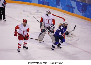KWANDONG, SOUTH KOREA - FEBRUARY 13, 2018: Olympic champion Team USA in action against Team Olympic Athlete from Russia during Women's ice hockey preliminary round game