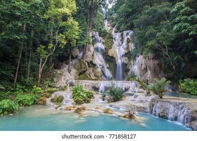 Kwang Si Waterfall in Laos is very beautiful.