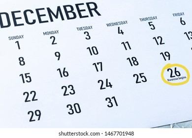 Kwanzaa 2019 beginning day in the United States - Thursday, December 26 marked on 2019 calendar