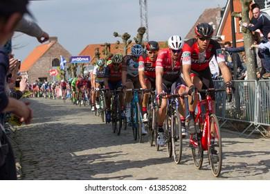 KWAREMONT, BELGIUM - APRIL 2: John Degenkolb (GER) and Greg Van Avermaet (BEL) in the chasing group on the Oude Kwaremont at the Tour Of Flanders on April 2nd 2017 in Kwaremont, Belgium