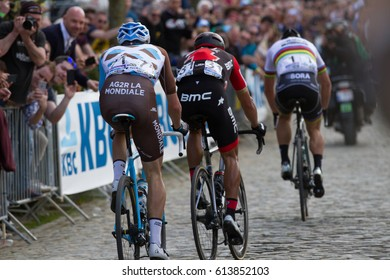 KWAREMONT, BELGIUM - APRIL 2: Peter Sagan (SLK) of Bora-Hansgrohe on the final ascent of Oude Kwaremont prior to his crash at the Tour Of Flanders bicycle race on April 2nd 2017 in Kwaremont, Belgium
