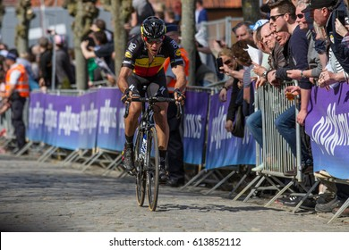 KWAREMONT, BELGIUM - APRIL 2: Philippe Gilbert (BEL) of Quick-Step Floors on the second ascent of the Kwaremont on his way to winning the Tour Of Flanders race on April 2nd 2017 in Kwaremont, Belgium