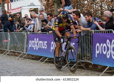 KWAREMONT, BELGIUM - APRIL 2: Philippe Gilbert (BEL) of Quick-Step Floors on the third ascent of the Kwaremont on his way to winning the Tour Of Flanders race on April 2nd 2017 in Kwaremont, Belgium
