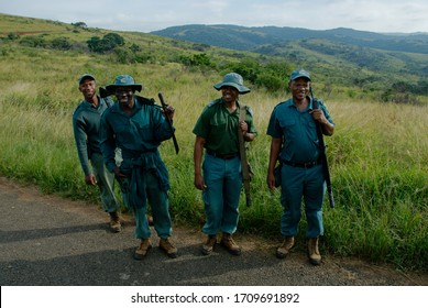 KwaZulu-Natal, hilltop / South Africa - 24.4.2009: south african national armed rangers doing the best to protect the wild animals from poachers