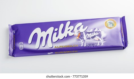 KWIDZYN, POLAND – APRIL 12, 2015: Bar of Milka chocolate isolated on white.  Milka is a brand of chocolate confection which originated in Switzerland in 1901.