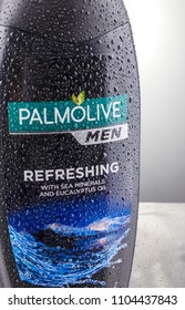KWIDZYN, POLAND – APRIL 12, 2018: Palmolive shower gel isolated on gradient background produced by american Colgate-Palmolive Company founded in 1806.