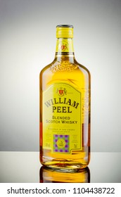 KWIDZYN, POLAND - APRIL 12, 2018: William Peel whisky on gradient background. William Peel is blended scotch whisky aged and matured in oak casks.