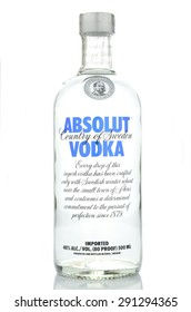 KWIDZYN, POLAND - APRIL 15, 2015: Absolut vodka isolated on white background. Absolut vodka has been produced in southern Sweden since 1879. Absolut was bought by French group Pernod Ricard in 2008.