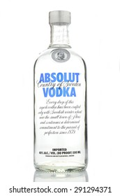 KWIDZYN, POLAND - APRIL 19, 2015: Absolut vodka isolated on white background. Absolut vodka has been produced in southern Sweden since 1879. Absolut was bought by French group Pernod Ricard in 2008.