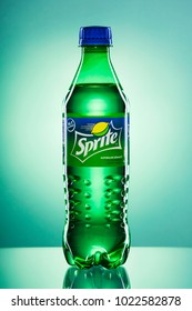 KWIDZYN, POLAND – APRIL 4, 2017: Bottle of Sprite drink on gradient background.  Sprite is lemon-like flavored soft drink produced by Coca-Cola Company. Sprite was introduced in 1961.