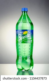 KWIDZYN, POLAND – APRIL 7, 2018: Bottle of Sprite drink on gradient background. Sprite is lemon-like flavored soft drink produced by Coca-Cola Company. Sprite was introduced in 1961