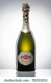KWIDZYN, POLAND – DECEMBER 18, 2017: Martini sparkling wine isolated on white. Martini is brand of Italian vermouth, named after the Martini and Rossi Distilleria Nazionale di Spirito di Vino in Turin