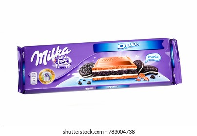 KWIDZYN, POLAND – DECEMBER 19, 2017: Bar of Milka chocolate isolated on white.  Milka is a brand of chocolate confection which originated in Switzerland in 1901.
