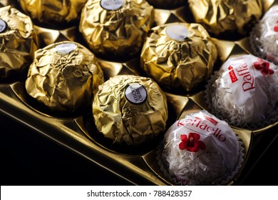 KWIDZYN, POLAND – DECEMBER 19, 2017: Ferrero collection chocolate products. Ferrero Rocher is chocolate confectionery produced by Italian chocolatier which was founded in 1946 in Alba, Italy.