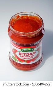KWIDZYN, POLAND – FEBRUARY 21, 2018: Kwidzyn ketchup on gradient background. Kwidzyn ketchup is produced by Pamapol SA in Poland.