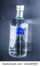 KWIDZYN, POLAND - FEBRUARY 22, 2019: Bottle of pure Absolut vodka. Absolut vodka has been produced in southern Sweden since 1879. Absolut was bought by Pernod Ricard group in 2008