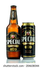 KWIDZYN, POLAND JULY 4, 2014: Specjal full light beer isolated on white background.  Specjal beer is produced by The Elblag Brewery founded in 1872, now belonging to Grupa Zywiec SA