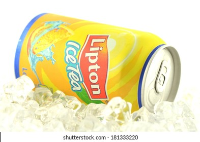 KWIDZYN, POLAND - MARCH 11, 2014: Lipton Ice Tea drink in a can isolated on white background.  Lipton Ice Tea is a brand sold by Lipton