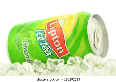 KWIDZYN, POLAND - MARCH 15, 2014: Can of Lipton Ice Tea drink on ice. Lipton Ice Tea is a brand sold by Lipton