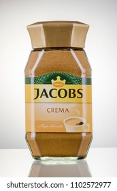 KWIDZYN, POLAND - MARCH 27, 2018: Jacobs Kronung coffee isolated on gradient background. Jacobs is coffee brand that traces its beginnings to 1895 in Germany by Johann Jacobs.