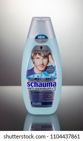 KWIDZYN, POLAND – MARCH 27, 2018: Schwarzkopf shampoo isolated on gradient background. In 1927, liquid shampoo was invented by Hans Schwarzkopf in Berlin whose name created shampoo brand.