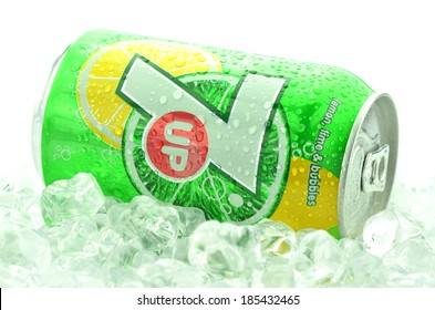 KWIDZYN, POLAND - MARCH 31, 2014: Can of 7 Up drink isolated on white.  7 Up is lemon-lime flavored drink. 7 Up was created by Charles Leiper Grigg in 1929