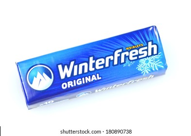 KWIDZYN, POLAND - MARCH 4 , 2014: Winterfresh chewing gum isolated on white background. Winterfresh chewing gum is produced by Wrigley Company which was founded in USA in 1891