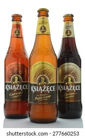 KWIDZYN, POLAND - MAY 1, 2015: Variety of Ksiazece beer isolated on white background. It is brewed in Tyskie Browary Ksiazece in Poland which was founded in 1629.