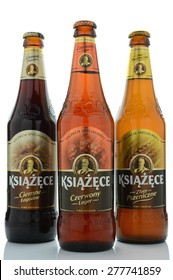 KWIDZYN, POLAND - MAY 1, 2015: Various Ksiazece beer isolated on white background. It is brewed in Tyskie Browary Ksiazece in Poland which was founded in 1629.