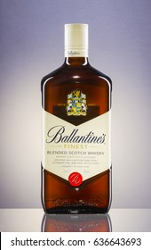 KWIDZYN, POLAND - MAY 4, 2017: Ballantines whisky on gradient background. Ballantines is blended scotch whisky produced produced by Pernod Ricard in Dumbarton, Scotland.