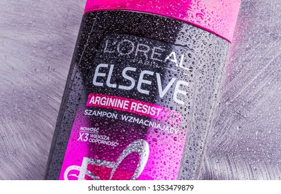 KWIDZYN, POLAND – MAY 5, 2018: LOreal elseve shampoo isolated on gradient background. LOréal S.A. is a French personal care company headquartered in Clichy, France,