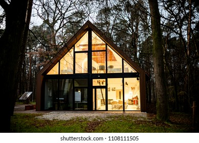 Kwidzyn, Poland - November 25, 2017: Eco House in the Forest