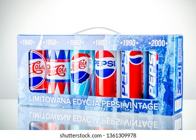 KWIDZYN, POLAND – November 3, 2018: Pepsi drink isolated on gradient background. Pepsi is carbonated soft drink produced by PepsiCo. Pepsi was created and developed in 1893.