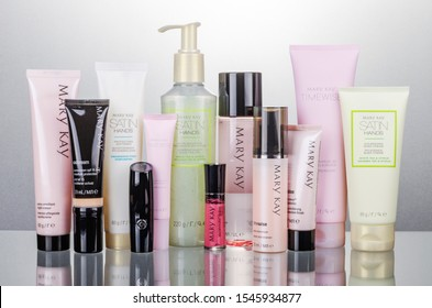 KWIDZYN, POLAND – OCTOBER 31, 2018: Set of Mary Kay cosmetics isolated on gradient background. Mary Kay is based inAddison, Texas, outside Dallas. The company was founded by Mary Kay Ashin 1963.