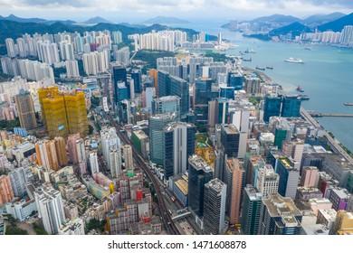 Kwun Tong, Hong Kong 02 June 2019: Aerial view of Hong Kong city