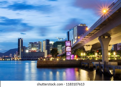 Kwun Tong Promenade is a urban waterfront park at the site of the former Kwun Tong Public Cargo Working Area