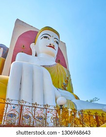 Kyaik Pun Pagoda is famous for its giant statues of four Buddhas, that riched Nirvana, Bago, Myanmar.