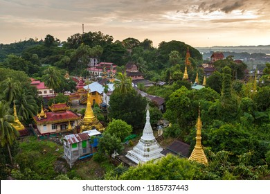 Kyaik Tan Lan or Kyaikthanlan Pagoda in Mawlamyine during sunset, Mon State, Myanmar.