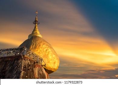 Kyaiktiyo Pagoda also called Golden rock in Myanmar