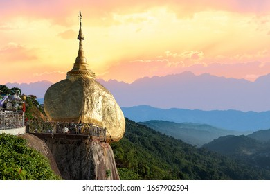Kyaiktiyo Pagoda also known like Golden Rock Pagoda in Myanmar (Burma) on background of blue sky. They are public domain or treasure of Buddhism, no restrict in copy or use