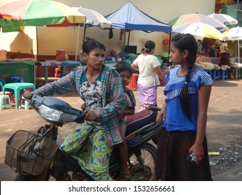 Kyaikto, Mon State / Myanmar (Burma) - 04 23 2016: Livelihoods of people in Myanmar seen by traveler traveling by road. Authentic lifestyle and culture in Southeast Asia in  2016.