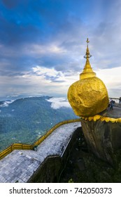 Kyaikto, Mon state, Myanmar - September 23 2016: Burmese people pray at Golden rock pagoda in Myanmar with noise