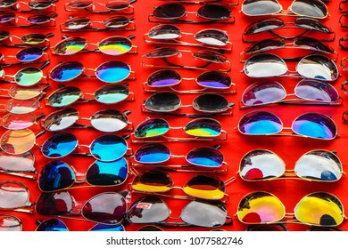 Kyaing tong, Myanmar - April 3 2017. Sunglasses on sale in Kyaing Tong market