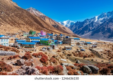 Kyanjin village at Langtang valley, Nepal, surrounded by the Tsergo Ri and Yala Peak mountains