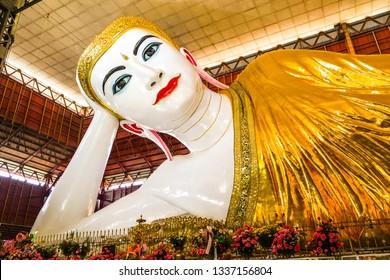 Kyauk Htat Gyi Reclining Buddha Or the popular Thai people called Phra Wan Ta Wan at Yangon Myanmar.