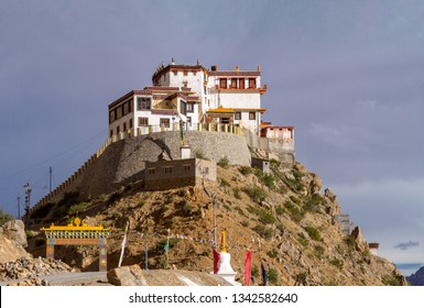 Kye (Key) buddhist monastery on the abrupt slopes of Himalayas mountains in the Spiti valley at sunny summer day  (Himachal Pradesh, India)