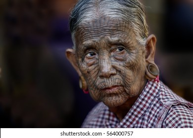 Kyee Chaung, Myanmar - Dec 11, 2016 Portrait of old woman with facial tattoos in Chin villages, Mrauk U region  Myanmar