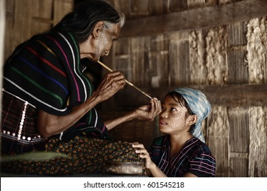 Kyee Chaung, Myanmar - Dec 11, 2016 Portrait of old woman with facial tattoos in Chin villages, Mrauk U region  Myanmar tattoo face in Myanmar
