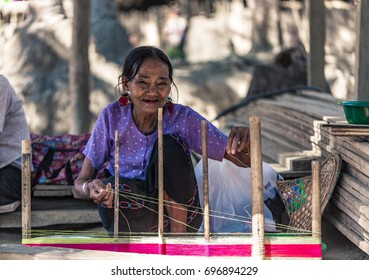 Kyee Chaung, Myanmar - Dec 29, 2016: Portrait of old woman with facial tattoos in Chin villages, Mrauk U region